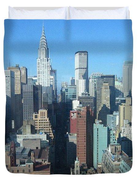 Duvet Cover featuring the photograph New York City Skyline by Dora Sofia Caputo Photographic Art and Design