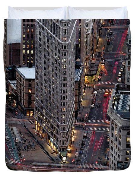 New York City Skyline Flatiron Building Duvet Cover