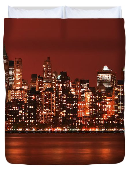 New York City Skyline In Red Duvet Cover