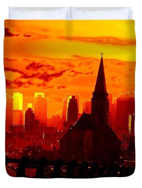New York City Skyline Inferno Duvet Cover by Ed Weidman