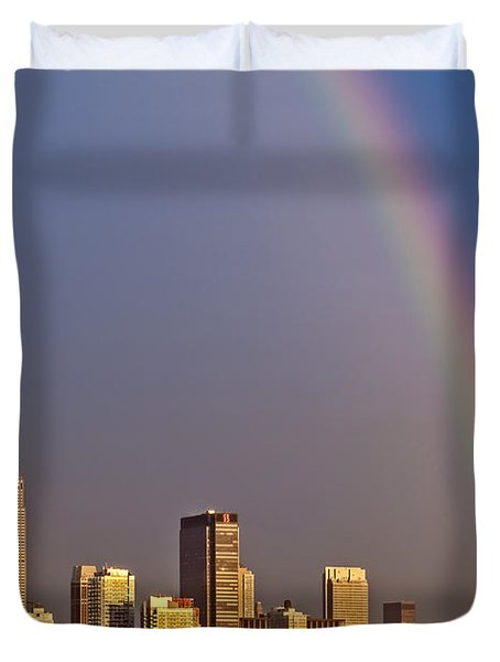 New York City Skyline Rainbow Duvet Cover by Susan Candelario