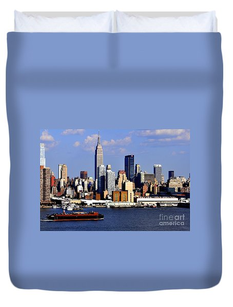 New York City Skyline With Empire State And Red Boat Duvet Cover by Kathy Flood