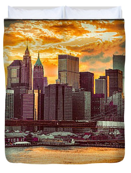 New York City Summer Panorama Duvet Cover