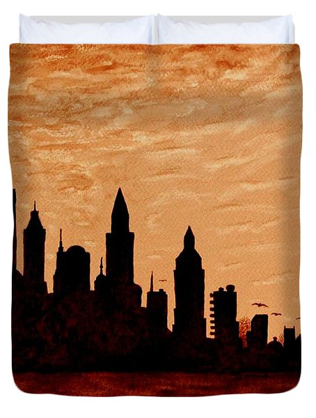 New York City Sunset Silhouette Duvet Cover