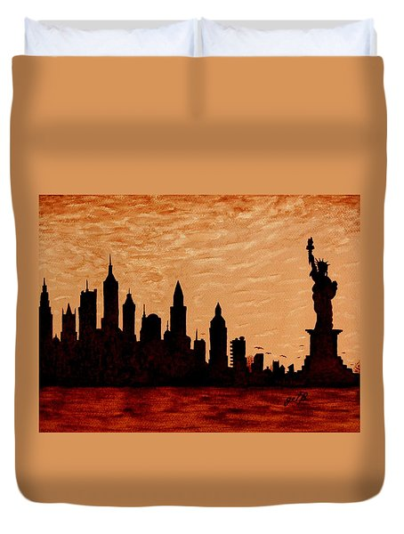 New York City Sunset Silhouette Duvet Cover by Georgeta  Blanaru