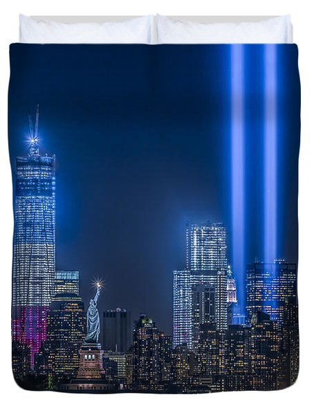 New York City Tribute In Lights Duvet Cover