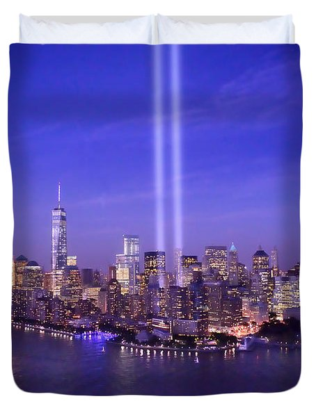 Duvet Cover featuring the photograph New York City Tribute In Lights World Trade Center Wtc Manhattan Nyc by Jon Holiday