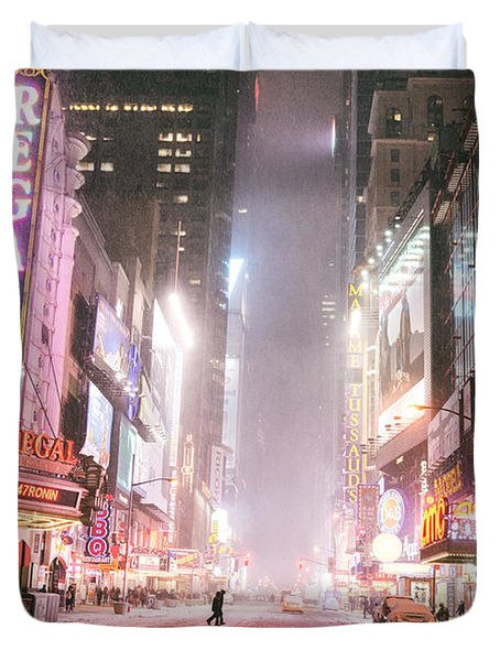 New York City - Winter Night - Times Square In The Snow Duvet Cover by Vivienne Gucwa