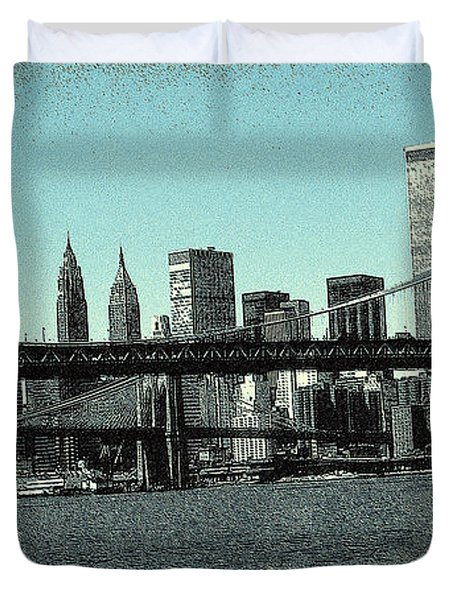 New York Downtown Manhattan Skyline - Blue Panorama Duvet Cover