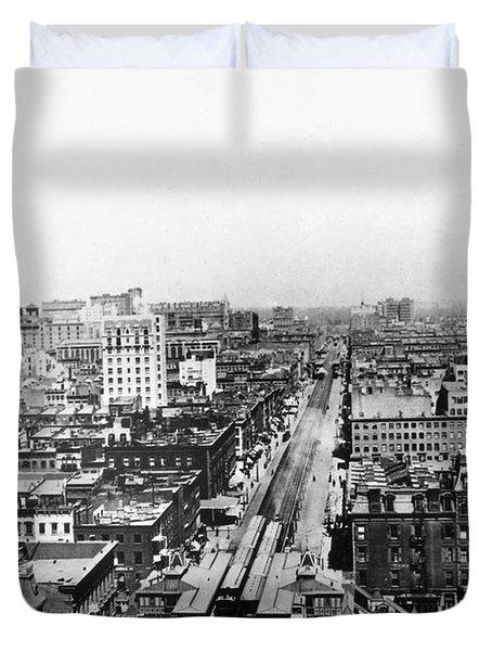 New York Elevated Train Duvet Cover