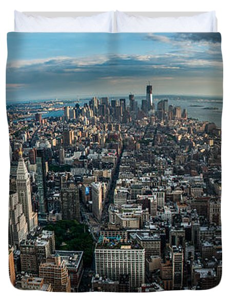 New York From A Birds Eyes - Fisheye Duvet Cover by Hannes Cmarits