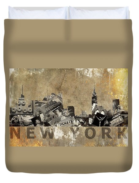 New York City Grunge Duvet Cover by Suzanne Powers