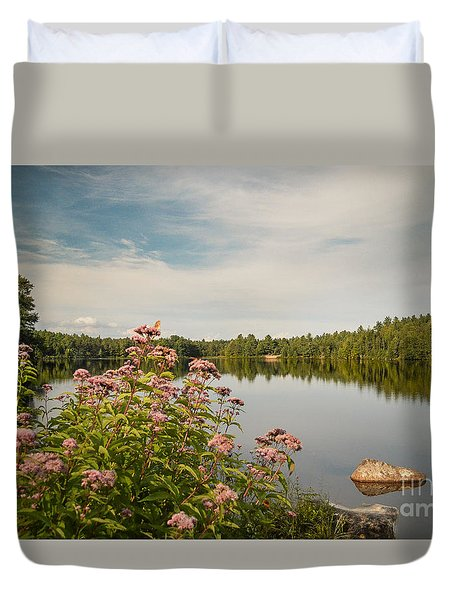 Duvet Cover featuring the photograph New York Lake by Debbie Green