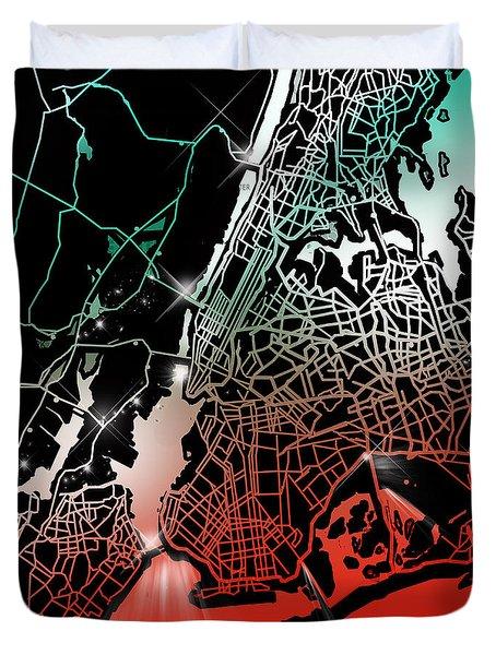 New York Map Gradient Duvet Cover