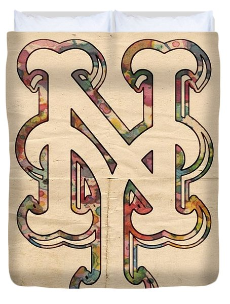 New York Mets Poster Art Duvet Cover