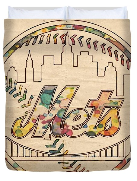 New York Mets Poster Vintage Duvet Cover