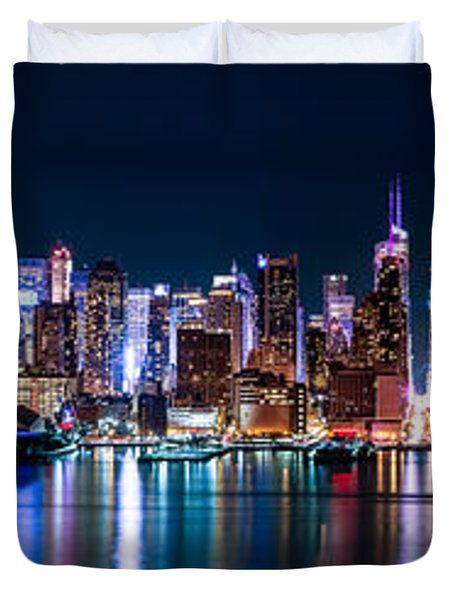 New York Panorama By Night Duvet Cover by Mihai Andritoiu