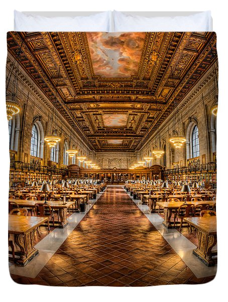 New York Public Library Main Reading Room Vii Duvet Cover by Clarence Holmes
