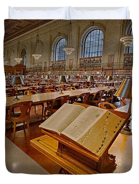 New York Public Library Rose Main Reading Room  Duvet Cover by Susan Candelario