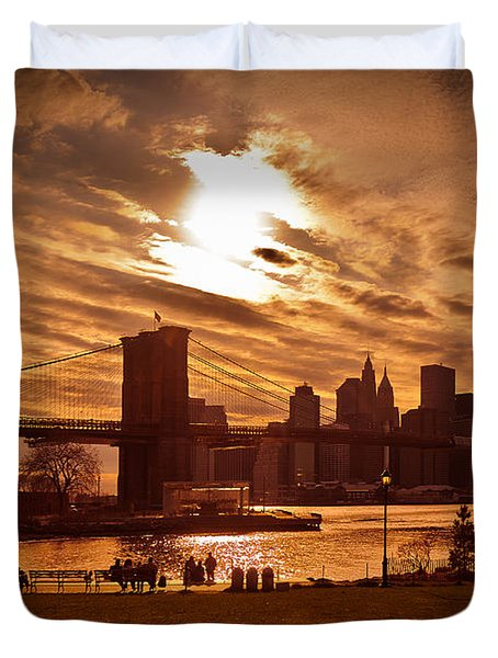 Duvet Cover featuring the photograph New York Skyline And Brooklyn Bridge -- Late Afternoon by Mitchell R Grosky