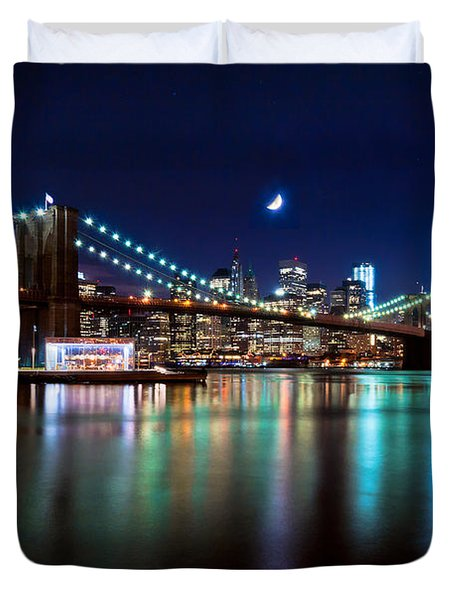 Duvet Cover featuring the photograph New York Skyline And Brooklyn Bridge With Crescent Moon Rising by Mitchell R Grosky