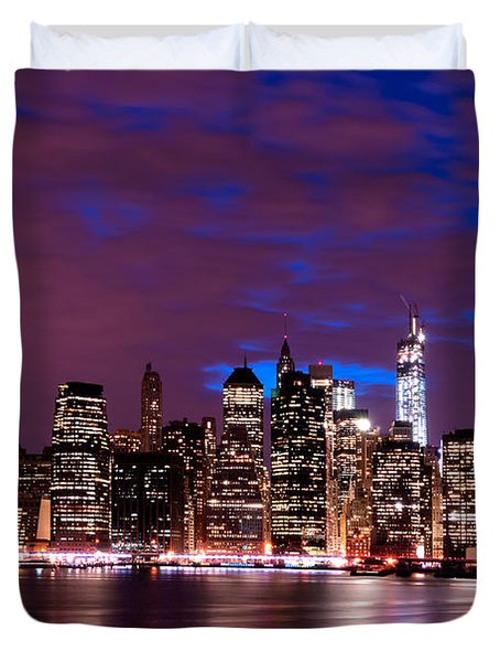Duvet Cover featuring the photograph New York Skyline Magic Hour-- From Brooklyn Heights Promenade by Mitchell R Grosky