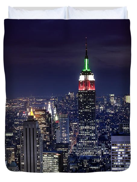 New York Skyline Night Color Duvet Cover