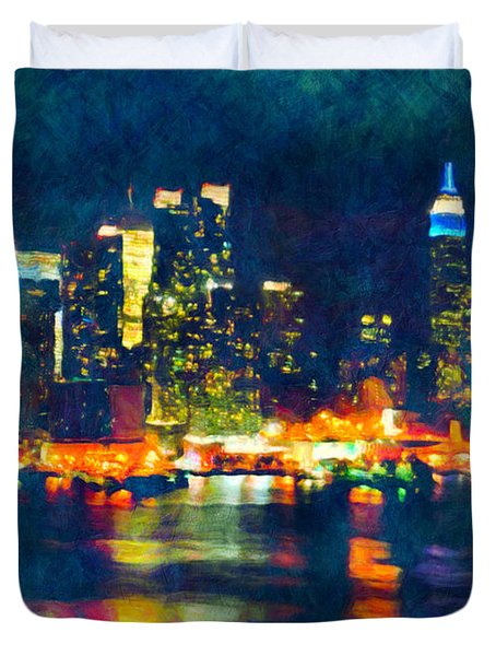 New York State Of Mind Abstract Realism Duvet Cover