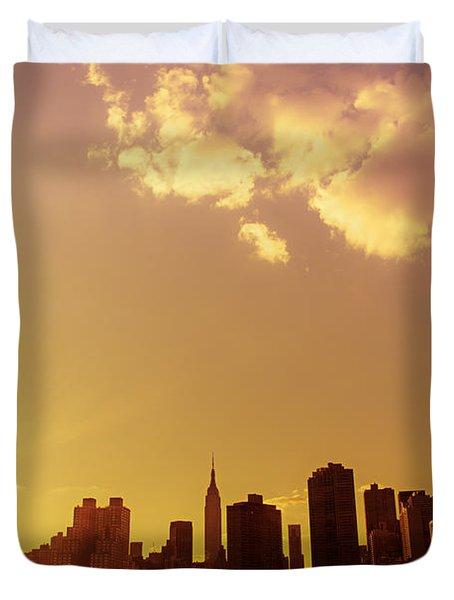 New York Sunset Skyline Duvet Cover by Vivienne Gucwa