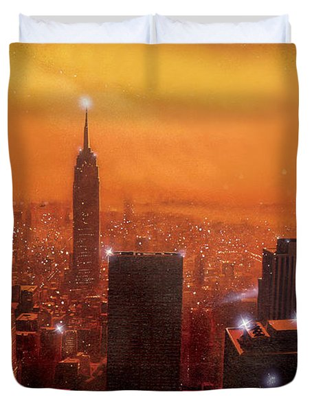 New York Sunset Duvet Cover