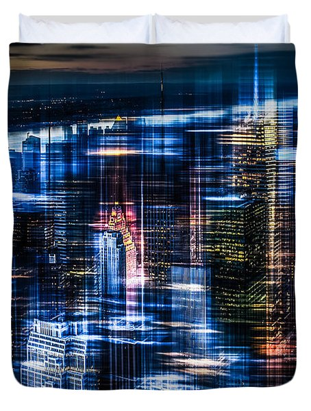 New York - The Night Awakes - Blue I Duvet Cover by Hannes Cmarits