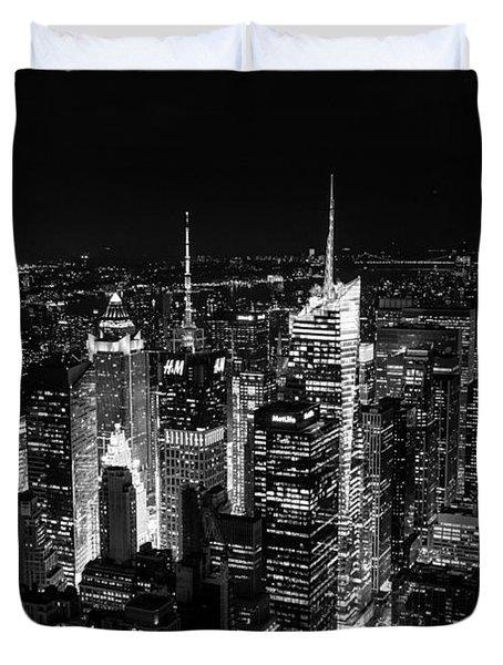 New York Times Square Bw Duvet Cover by Matt Malloy