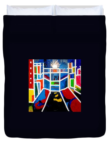 Duvet Cover featuring the painting New York Times Square  By Janelle Dey by Janelle Dey