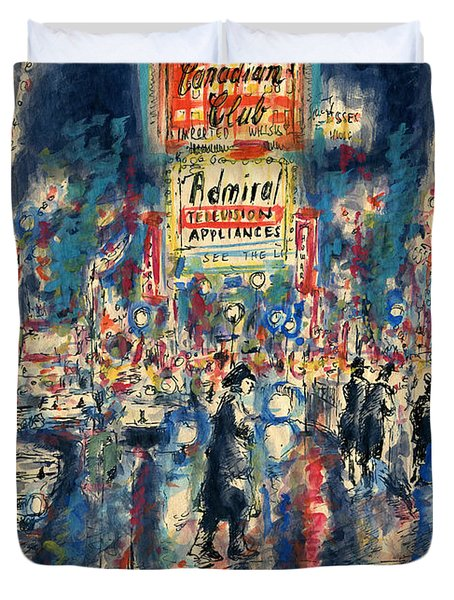 New York Times Square 79 - Watercolor Art Painting Duvet Cover