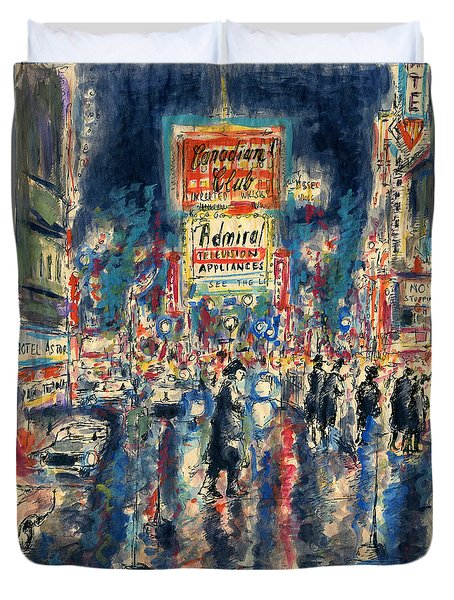 New York Times Square - Watercolor Duvet Cover