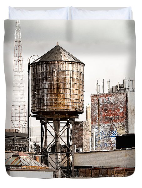 New York Water Tower 16 Duvet Cover by Gary Heller