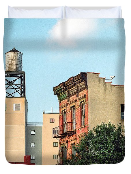 Duvet Cover featuring the photograph New York Water Tower 3 by Gary Heller
