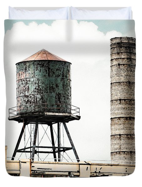 Water Tower And Smokestack In Brooklyn New York - New York Water Tower 12 Duvet Cover