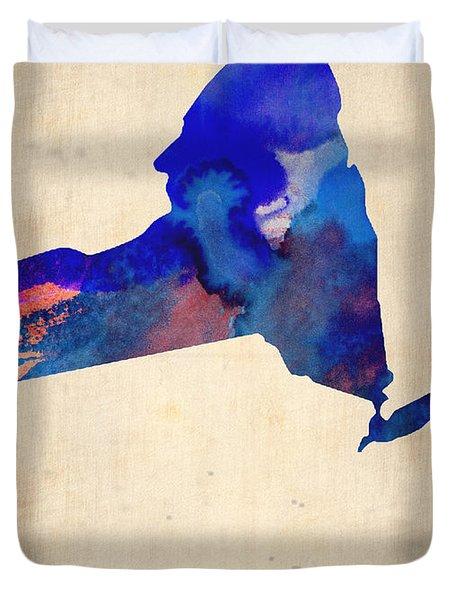 New York Watercolor Map Duvet Cover by Naxart Studio
