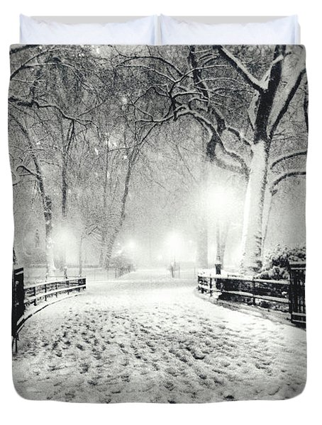 New York Winter Landscape - Madison Square Park Snow Duvet Cover by Vivienne Gucwa