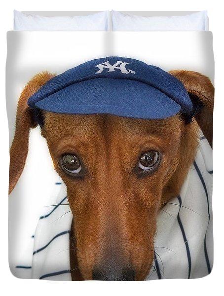New York Yankee Hotdog Duvet Cover by Susan Candelario