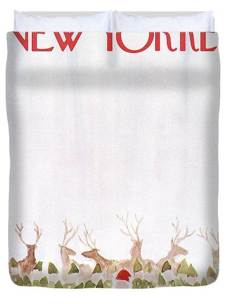 New Yorker December 24th, 1973 Duvet Cover by James Stevenson