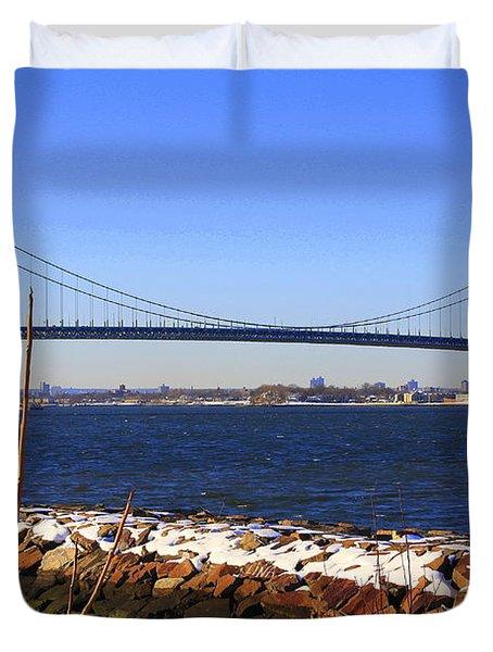 New York's Throgs Neck Bridge Duvet Cover by  Photographic Art and Design by Dora Sofia Caputo