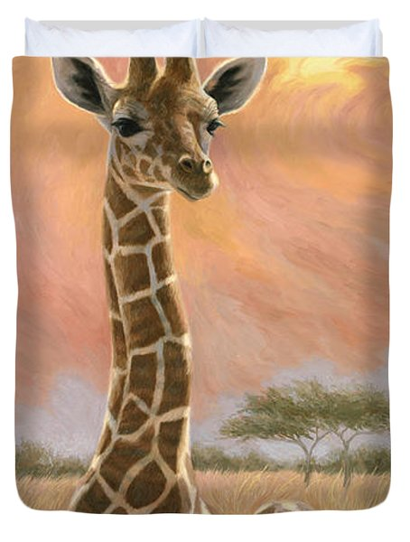 Newborn Giraffe Duvet Cover