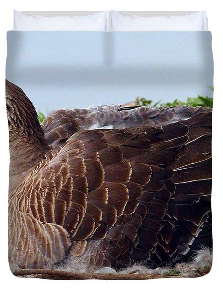 Duvet Cover featuring the photograph Newborn Peek by Elizabeth Winter