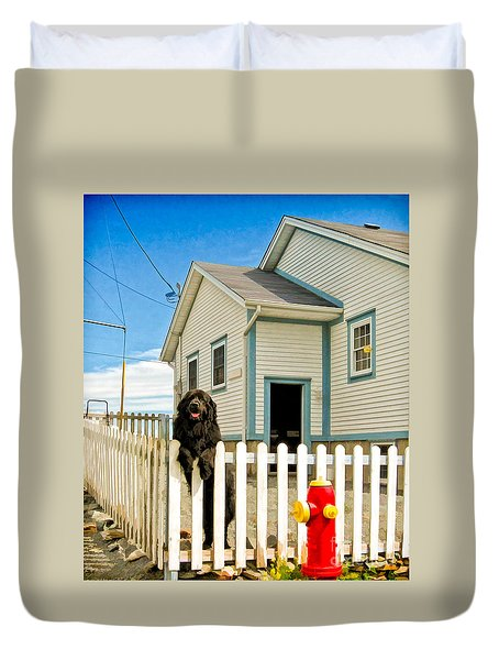 Newfoundland Dog In Newfoundland Duvet Cover
