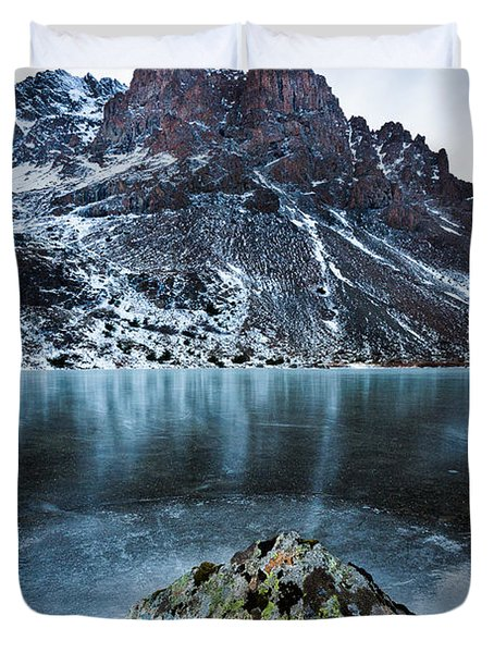 Frozen Mountain Lake Duvet Cover