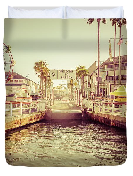 Newport Beach Balboa Island Ferry Dock Photo Duvet Cover by Paul Velgos