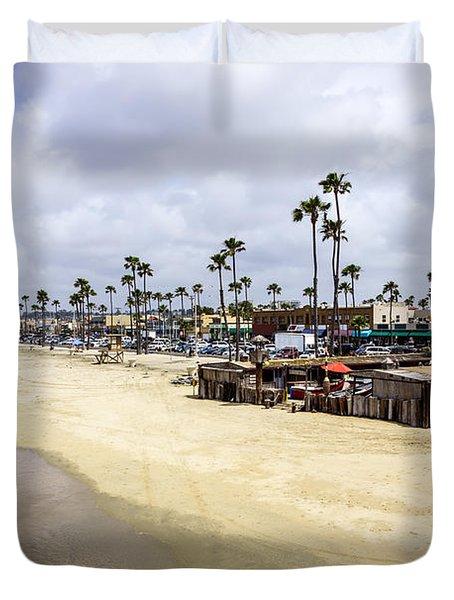 Newport Beach Oceanfront Businesses With Dory Fleet Duvet Cover by Paul Velgos