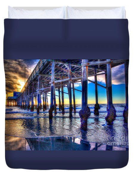 Newport Beach Pier - Low Tide Duvet Cover